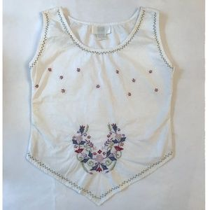 Floral Stitch White Linen-Feel Tank Top